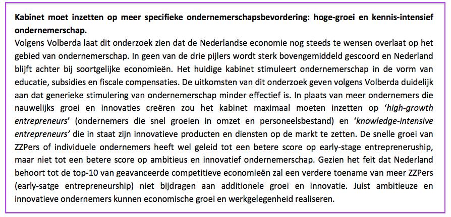 Conclusie advies in onderzoek Ondernemerschap in Nederland blijft achter van RSM en World Economic Forum