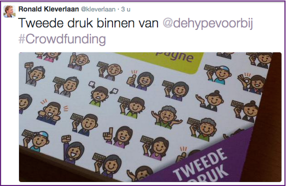 Ronald Kleverlaan twittert dat de 2e druk van het boek Crowdfunding, de hype voorbij is gearriveerd