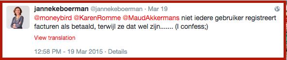 Janneke Boerman bekend op Twitter dat ze betaalde facturen niet altijd registreert op Moneybird