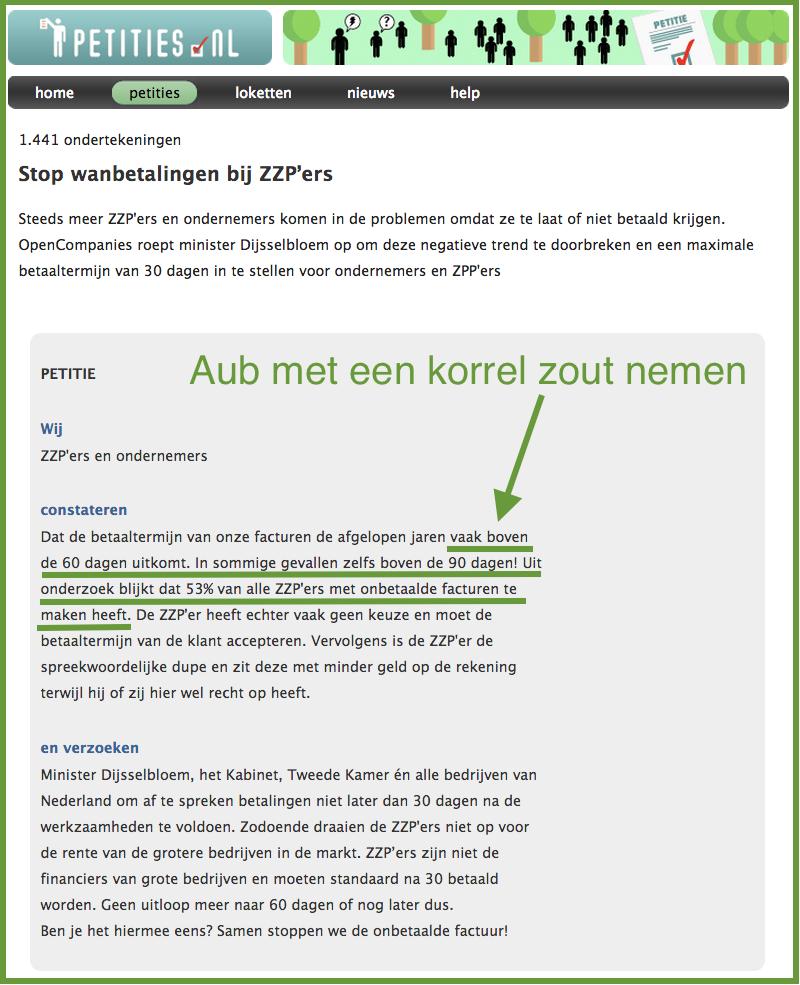 Petitie van Graydon op Petities.nl over oproep Dijsselbloem om traag betalen te stoppen