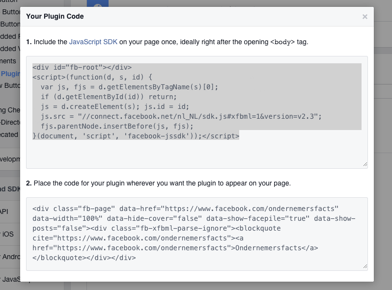 De plugin code voor de nieuwe Likebox van Facebook voor zzp'ers