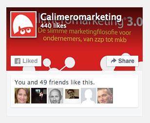 de nieuwe facebook like box van calimeromarketing en hoe je die erop zet