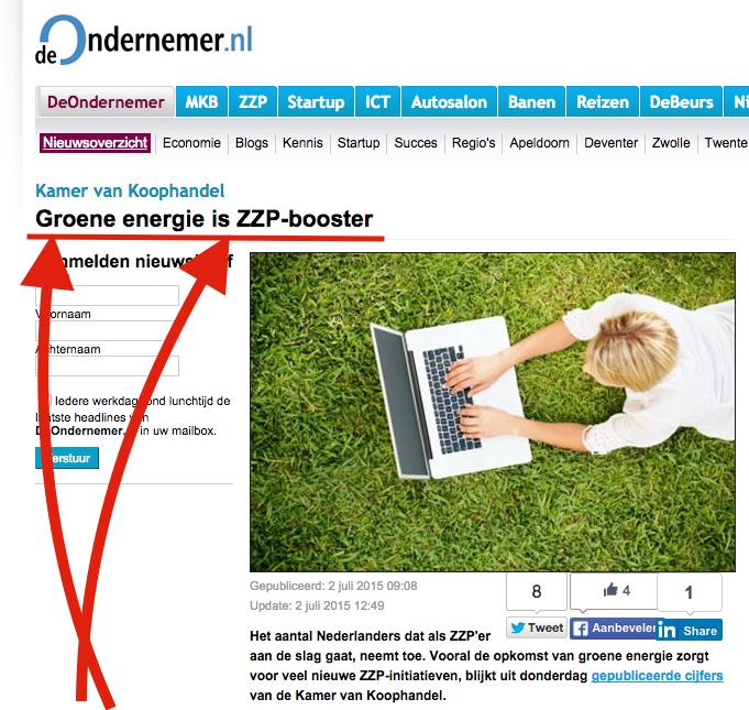 bij deondernemer.nl is stijging aantal groene zzp'ers een zzp-booster