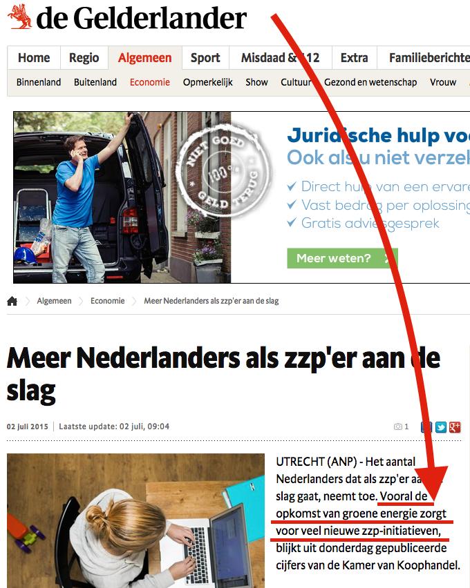 de gelderlander van wegener over groene energie en stijging aantal zzp'ers