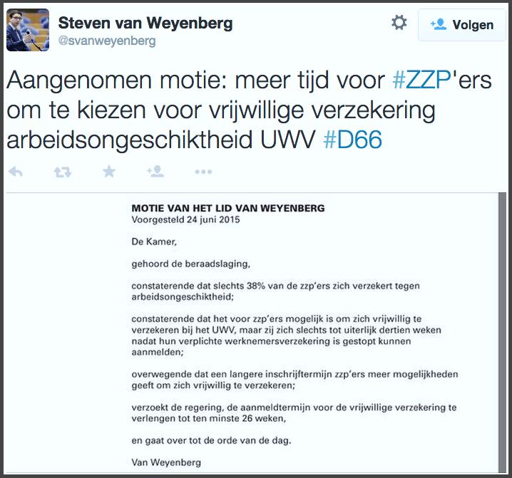 motie tweede kamerlid steven van weyenberg over verlengen aanmeldtermijn vrijwillige verzekering uwv