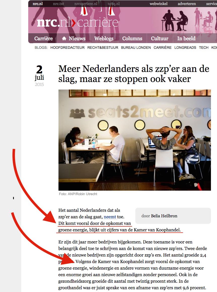 ook volgens nrc groeit het aantal zzp'ers in nederland gestaag als  gevolg van de opkomst van groene energie