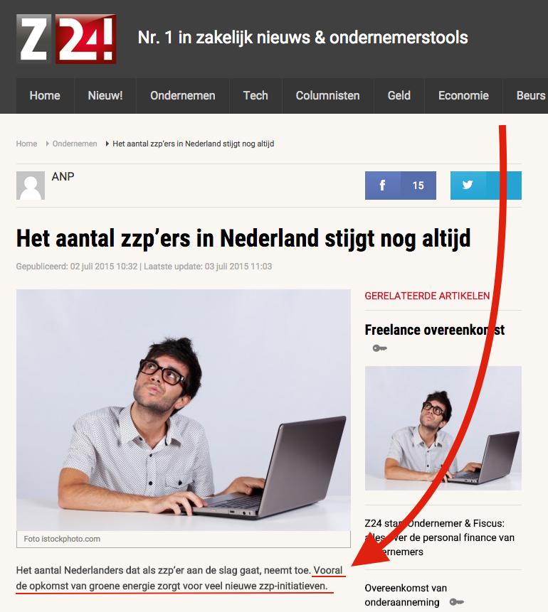 ook volgens z24 groeit het aantal zzp'ers in nederland gestaag als  gevolg van de opkomst van groene energie