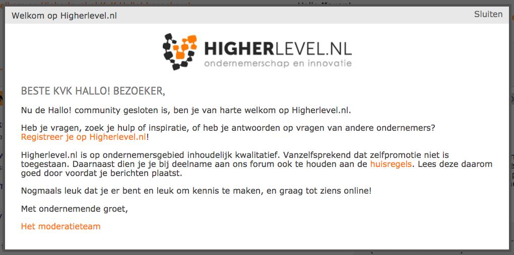 higherlevel.nl heet bezoeker hallo van kamer van koophandel van harte welkom